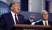 President Donald Trump speaks about the coronavirus in the James Brady Press Briefing Room of the White House, Thursday, April 2, 2020, in Washington, as Vice President Mike Pence listens. (AP Photo/Alex Brandon)