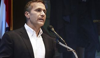 FILE - In this May 29, 2018, file photo, Missouri Gov. Eric Greitens announces his resignation during a news conference in Jefferson City. Greitens has re-emerged in public in recent months, leading to speculation that he might be open to running for office again. The Republican resigned as governor in June 2018 after facing charges connected to an extramarital affair and campaign finance issues. The charges were dropped when Greitens resigned. (Julie Smith/The Jefferson City News-Tribune via AP, File)