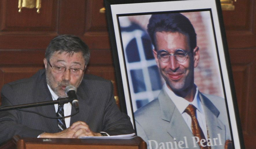 In this April 15, 2007, file photo, Dr. Judea Pearl, father of American journalist Daniel Pearl, who was killed by terrorists in 2002, speaks in Miami Beach, Fla. A Pakistani court on Thursday, April 2, 2020, overturned the murder conviction of a British Pakistani man found guilty of the kidnapping and murder of Wall Street journalist Daniel Pearl.  (AP Photo/Wilfredo Lee, File)