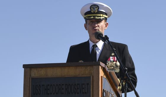 SAN DIEGO (Nov. 1, 2019) Capt. Brett Crozier addresses the crew for the first time as commanding officer of the aircraft carrier USS Theodore Roosevelt (CVN 71). (U.S. Navy photo)