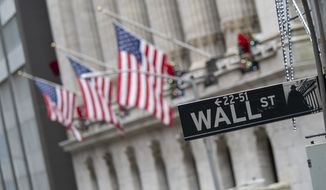 In this Jan. 3, 2020, file photo, the Wall St. street sign is framed by U.S. flags flying outside the New York Stock Exchange in New York. (AP Photo/Mary Altaffer, File)