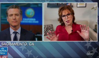 """Joy Behar of ABC's """"The View"""" discusses the coronavirus pandemic with California Governor Gavin Newsom, April 3, 2020. (Image: ABC, """"The View"""" video screenshot)"""