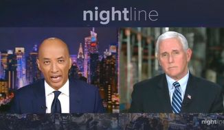 "Vice President Mike Pence discusses the coronavirus epidemic, April 1, 2020. (Image: ABC, ""Nightline"" video screenshot)"