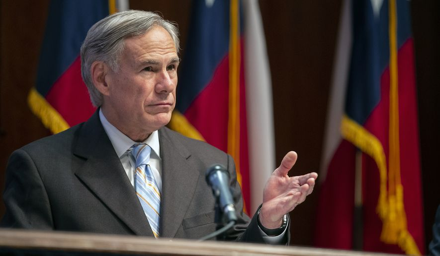 Texas Gov. Greg Abbott gives an update on Texas hospital bed capacity during a press conference at the state Capitol, Friday, April 3, 2020 in Austin, Texas. The new coronavirus causes mild or moderate symptoms for most people, but for some, especially older adults and people with existing health problems,  it can cause more severe illness or death. (Ricardo B. Brazziell/Austin American-Statesman via AP)