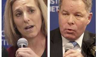 This combination of Nov. 19, 2019 photos shows Dane County Circuit Court Judge Jill Karofsky, left, and Wisconsin Supreme Court Justice Daniel Kelly, during a candidate's forum for a seat on the state Supreme Court. Wisconsin voters are about to choose the next state Supreme Court justice. Incumbent conservative Justice Kelly and liberal challenger Karofsky will square off in the April 7, 2020 spring election despite the coronavirus crisis. (John Hart/Wisconsin State Journal via AP, File)