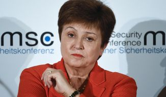 Kristalina Georgieva, Managing Director of the International Monetary Fund, attends a session on the first day of the Munich Security Conference in Munich, Germany, Feb. 14, 2020. (AP Photo/Jens Meyer) ** FILE **