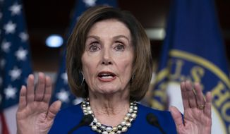 In this Feb. 6, 2020, file photo, Speaker of the House Nancy Pelosi, D-Calif., talks during a news conference at the Capitol in Washington. (AP Photo/J. Scott Applewhite) ** FILE **