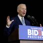 Democratic presidential candidate former Vice President Joe Biden speaks during a primary election night rally Tuesday, March 3, 2020, in Los Angeles. (AP Photo/Marcio Jose Sanchez) ** FILE **