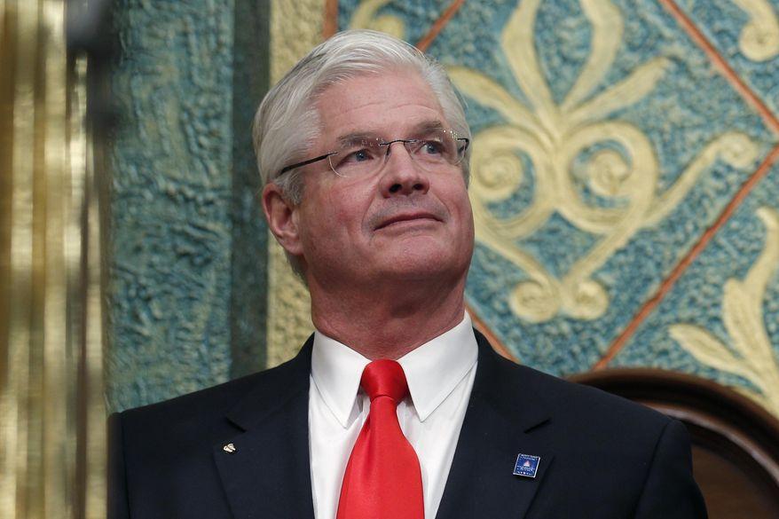 In this Feb. 12, 2019, file photo, state Senate Majority Leader Mike Shirkey, R-Clarklake, watches during the State of the State address at the state Capitol in Lansing, Mich. (AP Photo/Al Goldis, File)