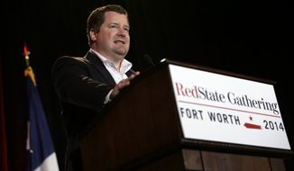 RedState Editor-in-Chief Erick Erickson makes comments to attendees at the 2014 Red State Gathering, Friday, Aug. 8, 2014, in Fort Worth, Texas. (AP Photo/Tony Gutierrez) **FILE**