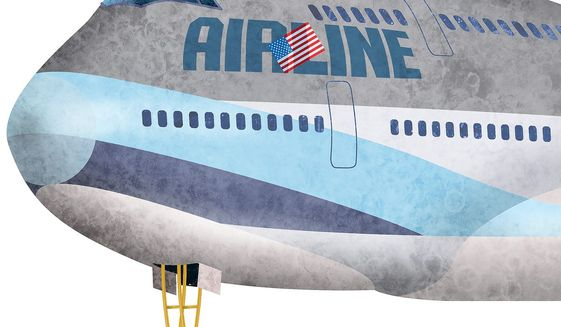 Plane Crutch Illustration by Greg Groesch/The Washington Times