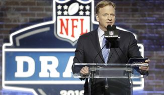 In this April 25, 2019, file photo, NFL Commissioner Roger Goodell speaks ahead of the first round at the NFL football draft in Nashville, Tenn. In a memo sent to the 32 teams Monday, April 6, 2020, and obtained by The Associated Press, NFL Commissioner Roger Goodell outlined procedures for the April 23-25 draft. The guidelines include no group gatherings. (AP Photo/Steve Helber, FIle)  **FILE**