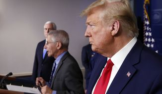 President Donald Trump and Vice President Mike Pence listens as Dr. Anthony Fauci, director of the National Institute of Allergy and Infectious Diseases, speaks about the coronavirus in the James Brady Press Briefing Room of the White House, Monday, April 6, 2020, in Washington. (AP Photo/Alex Brandon)