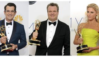 """This combination photo shows award winning cast members of """"Modern Family"""", from left, Ty Burrell with the Emmy for supporting actor in a comedy series at the Emmy Awards in Los Angeles on Aug. 25, 2014, Eric Stonestreet with his award for best supporting actor in a comedy series at the Emmy Awards in Los Angeles on Sept. 23, 2012 and Julie Bowen with her award for best supporting actress in a comedy series at the Emmy Awards in Los Angeles on Sept. 23, 2012. Each actor has won two supporting awards during the series' 11-season run. The two-hour finale airs at 9 p.m. EDT on Wednesday. (AP Photo)"""