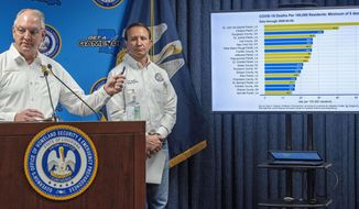 Louisiana Gov. John Bel Edwards talks about a chart as Attorney General Jeff Landry listens, while addressing steps being taken to fight the coronavirus and the status of cases in the state during a press conference at the Governor's Office of Homeland Security & Emergency Management, Monday April 6, 2020, in Baton Rouge, La. (Bill Feig/The Advocate via AP, Pool)