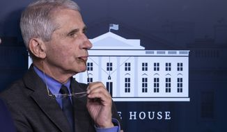 Dr. Anthony Fauci, director of the National Institute of Allergy and Infectious Diseases, listens during a briefing about the coronavirus in the James Brady Press Briefing Room of the White House, Tuesday, April 7, 2020, in Washington. (AP Photo/Alex Brandon)