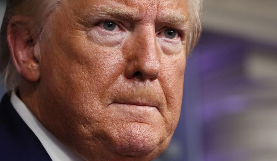 President Donald Trump speaks about the coronavirus in the James Brady Press Briefing Room of the White House, Monday, April 6, 2020, in Washington. (AP Photo/Alex Brandon)