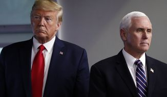 President Donald Trump and Vice President Mike Pence listen as Secretary of State Mike Pompeo peaks about the coronavirus in the James Brady Press Briefing Room of the White House, Wednesday, April 8, 2020, in Washington. (AP Photo/Alex Brandon)