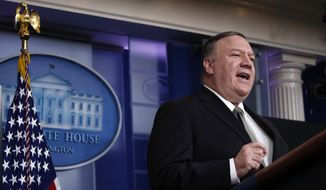 Secretary of State Mike Pompeo speaks about the coronavirus in the James Brady Press Briefing Room of the White House, Wednesday, April 8, 2020, in Washington. (AP Photo/Alex Brandon) **FILE**