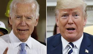 In this combination of file photos, former Vice President Joe Biden speaks in Collier, Pa., on March 6, 2018, and President Donald Trump speaks in the Oval Office of the White House in Washington on March 20, 2018. For a moment, West Virginia looked like it was going to be the only state in the country to allow betting on the presidential election. The short-lived play by bookmaker giant FanDuel was approved by the state lottery board. But it was announced and nixed within the span of about two hours Tuesday, April 7, 2020 in a bizarre sequence that appeared to baffle top government officials. Republican Gov. Jim Justice said it was ridiculous and he didn't know why the lottery commission would approve such a deal. (AP Photo)