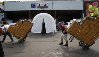 Workers pull dollies loaded with boxes of produce past a decontamination tent at the Centro de Abastos, the main food distribution center in Mexico City, Tuesday, April 7, 2020. The tent was set up a measure to help slow down the spread of the new coronavirus pandemic. (AP Photo/Marco Ugarte)