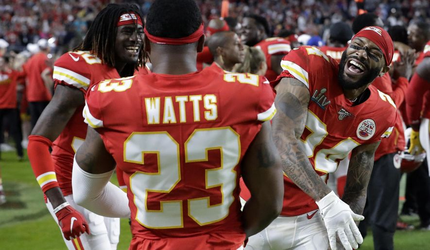 FILE - In this Feb. 2, 2020, file photo, Kansas City Chiefs' Armani Watts (23) celebrates with Alex Brown, left, and Jordan Lucas during the second half of the NFL Super Bowl 54 football game against the San Francisco 49ers in Miami Gardens, Fla.  Last month was set to stage what would have been its first-ever combine exclusively for football players from Historically Black College and Universities that didn't receive invites to the NFL Combine in Indianapolis. But that event was one of the many cancellation casualties of the coronavirus pandemic. (AP Photo/Mark Humphrey, File)