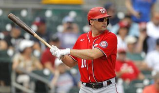 In this Tuesday, March 10, 2020, file photo, Washington Nationals' Ryan Zimmerman waits for a pitch from Miami Marlins pitcher Caleb Smith during the first inning of a spring training baseball game, in Jupiter, Fla. With baseball on hold because of the coronavirus pandemic, Zimmerman occasionally will offer his thoughts to The Associated Press while waiting for the 2020 season to begin. (AP Photo/Julio Cortez) ** FILE **