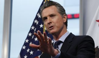 California Gov. Gavin Newsom announced California saw its first daily decrease in intensive care hospitalizations during the coronavirus outbreak, during his daily news briefing at the Governor's Office of Emergency Services in Rancho Cordova, Calif. Thursday, April 9, 2020. Newsom announced that California saw its first daily decrease in intensive care hospitalizations during the coronavirus outbreak, a key indicator of how many health care workers and medical supplies are needed. He went on to say the state's hospitals have thousands of ventilators available should the number of the sickest patients suddenly surge. (AP Photo/Rich Pedroncelli, Pool)