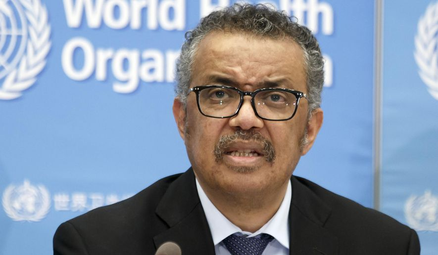 In this Feb. 24, 2020, photo, Tedros Adhanom Ghebreyesus, director-general of the World Health Organization (WHO), addresses a press conference about the update on COVID-19 at the World Health Organization headquarters in Geneva, Switzerland. (Salvatore Di Nolfi/Keystone via AP) ** FILE **