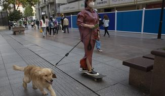A resident gets a ride from her dog along a retail street in Wuhan in central China's Hubei province, Thursday, April 9, 2020. Released from their apartments after a 2 1/2-month quarantine, residents of the city where the coronavirus pandemic began are cautiously returning to shopping and strolling in the street but say they still go out little and keep children home while they wait for schools to reopen. (AP Photo/Ng Han Guan)