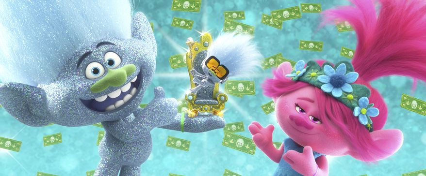 """This image released by DreamWorks Animation shows characters, from left, Guy Diamond, voiced by Kunal Nayyar, Tiny Diamond, voiced by Kenan Thompson and Poppy, voiced by Anna Kendrick in a scene from """"Trolls World Tour."""" (DreamWorks Animation via AP)"""