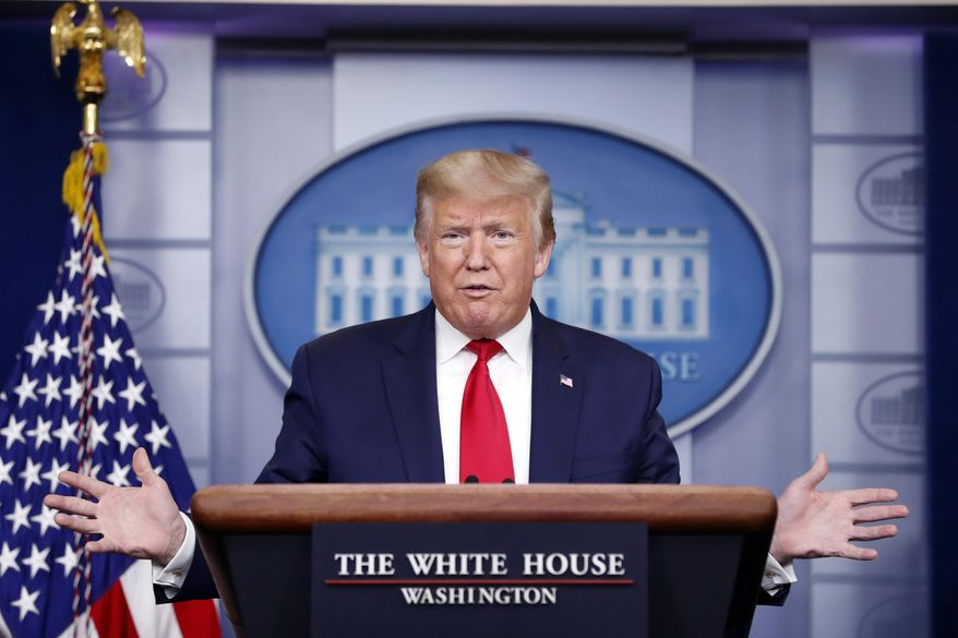 President Donald Trump speaks about the coronavirus in the James Brady Press Briefing Room of the White House, Thursday, April 9, 2020, in Washington. (AP Photo/Andrew Harnik)
