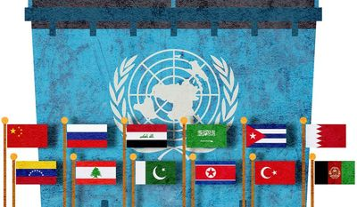United Nations Dumpster Illustration by Greg Groesch/The Washington Times