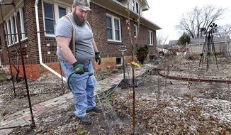 In this Thursday, April 2, 2020 photo, Michael Kavanagh waters a freshly planted cherry tree in the side yard of his La Crosse, Wis. Kavanagh and his partner are in the early stages of planning a victory garden. The practice, that was popular during World War II, is meant to provide a sense of hope as society struggles against the COVID-19 pandemic. (Peter Thomson/La Crosse Tribune via AP)