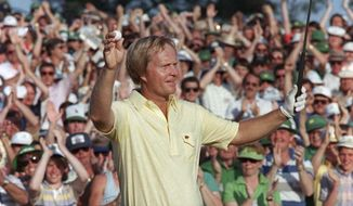 FILE - In this April 14, 1986, file photo, Jack Nicklaus reacts as he finishes on the 18th to win the Masters Championship at Augusta National Golf Club in Augusta, Ga. (AP Photo/File)