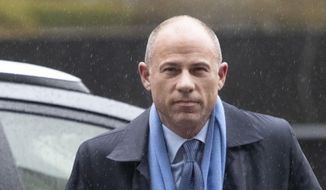 In this Dec. 17, 2019, file photo, attorney Michael Avenatti arrives at federal court in New York to enter a plea to an indictment charging him with trying to extort up to $25 million from Nike. Avenatti, who awaits a June 2020 sentencing after he was convicted of trying to extort $25 million from the sportswear giant, was temporarily freed from a federal jail in New York City due to concerns that his medical history will make him more susceptible to coronavirus. (AP Photo/Mark Lennihan, File)