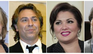 This combination photo shows opera singers, from left, Renée Fleming, French tenor Roberto Alagna, Russian Soprano Anna Netrebko and Welsh bass-baritone Bryn Terfel, who are among 38 opera stars in 13 nations scheduled for the Metropolitan Opera's At-Home gala, which will be streamed live on April 25 starting at 1 p.m. EDT. (AP Photo)