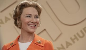 """This image released by FX shows Cate Blanchett as Phyllis Schlafly in a scene from the miniseries """"Mrs. America,"""" an FX original series premiering April 15 on Hulu. (Sabrina Lantos/FX via AP)"""