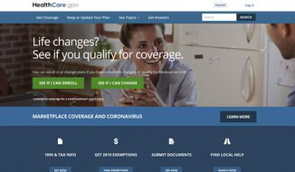 In this image provided by U.S. Centers for Medicare & Medicaid Service, the website for HealthCare.gov is seen. (U.S. Centers for Medicare & Medicaid Service via AP) ** FILE **