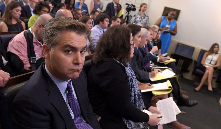 Jim Acosta of CNN listens during the daily briefing at the White House in Washington, Wednesday, Aug. 2, 2017. (Associated Press) **FILE**