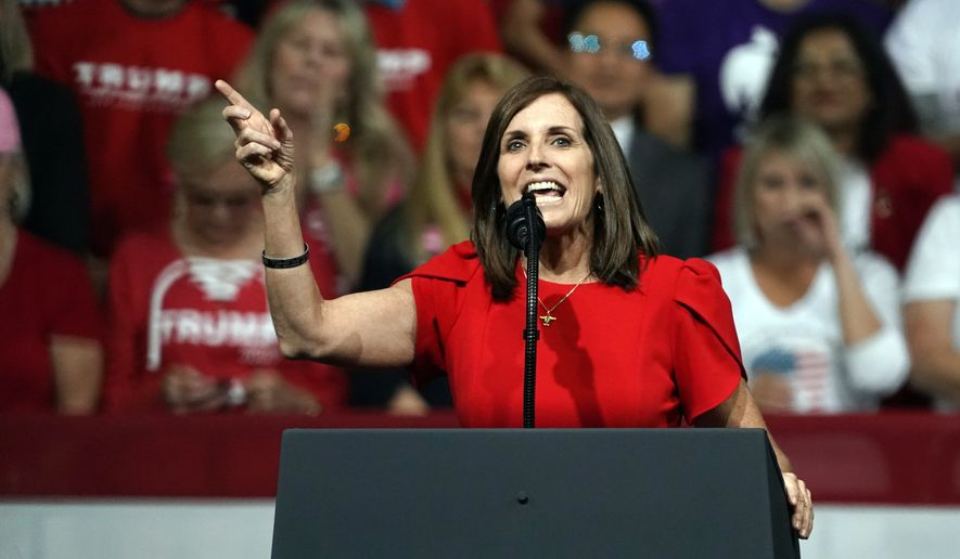 In this Feb. 19, 2020, file photo, Sen. Martha McSally, R-Ariz., speaks at a rally for President Donald Trump in Phoenix. (AP Photo/Rick Scuteri, File)