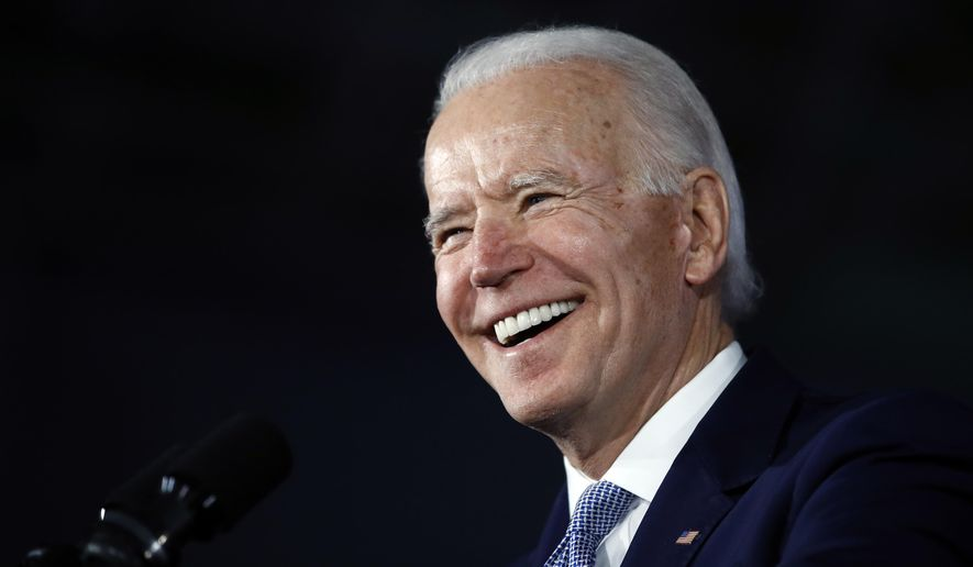 Democratic presidential candidate former Vice President Joe Biden speaks at a primary night election rally in Columbia, S.C., Saturday, Feb. 29, 2020, after winning the South Carolina primary. (AP Photo/Matt Rourke) ** FILE **