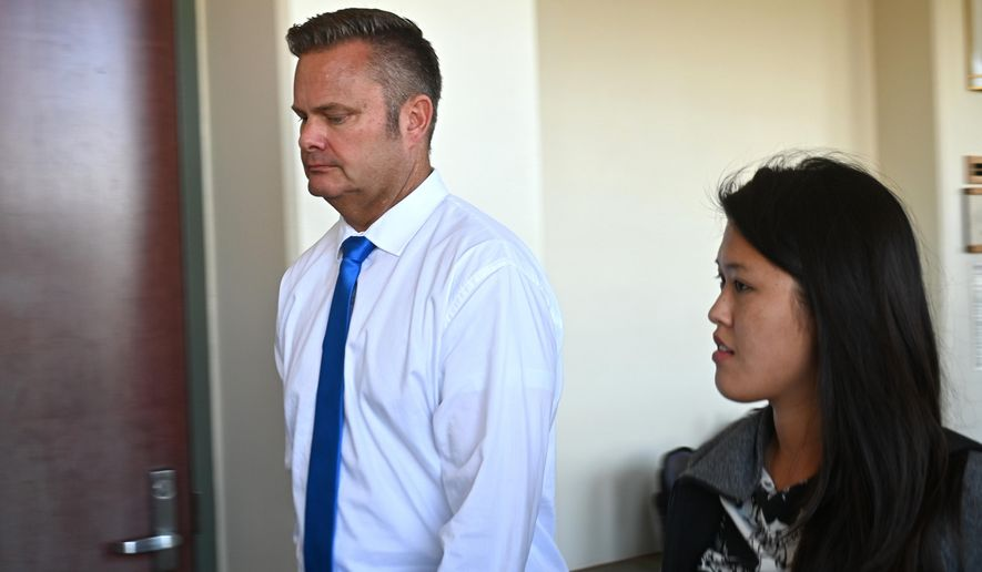 In this Feb. 21, 2020, file photo, Chad Daybell, Lori Vallow's current husband, walks into court for his wife's hearing on child abandonment and other charges in Lihue, Hawaii. (Dennis Fujimoto/The Garden Island via AP, Pool, File)