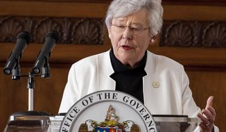 Governor Kay Ivey speaks at a coronavirus update briefing in the state capitol building in Montgomery, Ala., on Tuesday April 14, 2020. (Mickey Welsh/The Montgomery Advertiser via AP)
