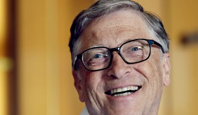 Bill Gates smiles while being interviewed in Kirkland, Wash. (AP Photo/Elaine Thompson) **FILE**
