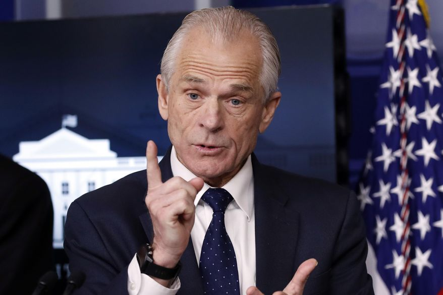 In this April 2, 2020, file photo, White House trade adviser Peter Navarro, who is now serving as national defense production act policy coordinator, speaks about the coronavirus in the James Brady Press Briefing Room of the White House in Washington. (AP Photo/Alex Brandon, File)