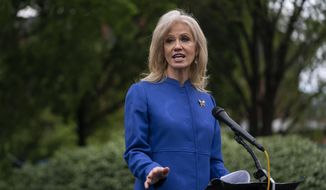 Then-White House counselor Kellyanne Conway talks to reporters about the coronavirus at the White House, Wednesday, April 15, 2020, in Washington. (AP Photo/Evan Vucci) ** FILE **