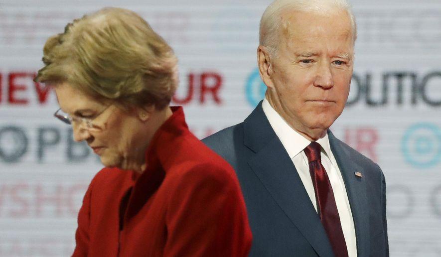 Sen. Elizabeth Warren, D-Mass., left, and former Vice President Joe Biden stand on stage during a break at a presumptive Democratic presidential primary debate in Los Angeles, Dec. 19, 2019. (AP Photo/Chris Carlson) ** FILE **