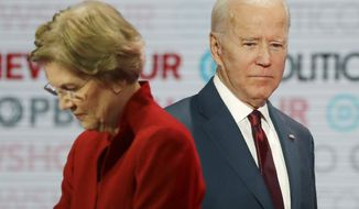 In this Dec. 19, 2019, file photo presumptive Democratic presidential candidates Sen. Elizabeth Warren, D-Mass., left, and former Vice President Joe Biden stand on stage during a break at a presumptive Democratic presidential primary debate in Los Angeles. (AP Photo/Chris Carlson, File)