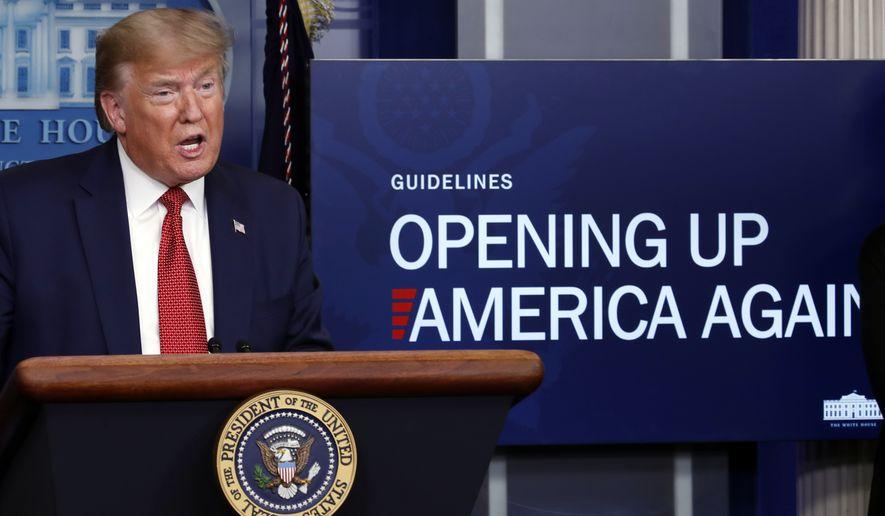 President Donald Trump speaks about the coronavirus in the James Brady Press Briefing Room of the White House, Thursday, April 16, 2020, in Washington. (AP Photo/Alex Brandon)